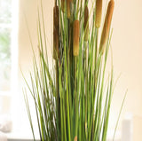 Artificial 47 in. Reed Plant with Pot - Cattails and Reed Grass in Black Pot