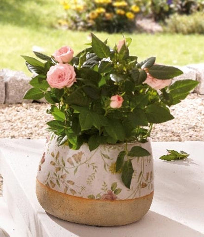 Porcelain Flower Pot - Floral Patterned Flower Pot, Medium Height