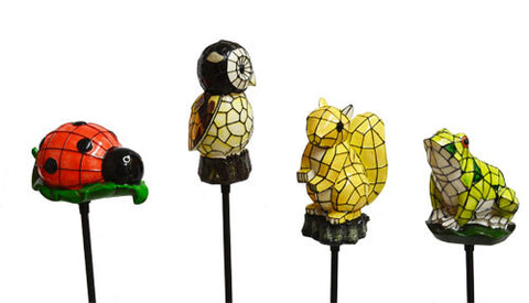4 Pack Solar Lighted Frog, Ladybug, Owl, Squirrel Stake Lights