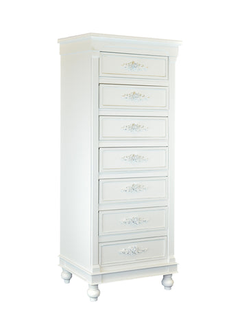 Chest of Drawers White Dressers Side Cabinet Table w/Rosebuds for Badroom Livingroom 46 in. 7 Drawers