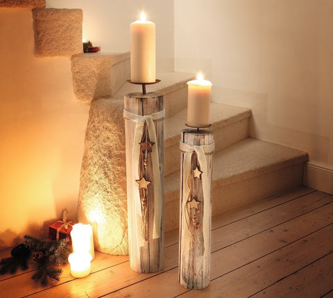Wood Column Floor Candle Holders w/ Decorative Stars & Beads, Set of Two