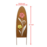 2PK Rustic Oval Top Metal Garden Picks with Red and Yellow Glass Flower Cutting