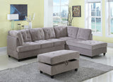 3 Piece Corduroy Contemporary Right-facing Sectional Sofa Set with Ottoman, Gray