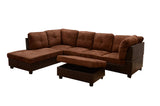 3 Piece Microfiber / Faux Leather Contemporary Left-facing Sectional Sofa Set with Ottoman, Brown