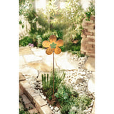 Rustic Flower Metal Garden Pick with Green Glass Center