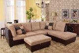 3 Piece Microfiber / Faux Leather Contemporary Right-facing Sectional Sofa Set with Ottoman, 2 Accent Pillows, Camel Beige