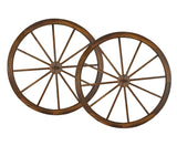 36 in Steel-rimmed Wooden Wagon Wheels - Decorative Wall Decor, Set of Two