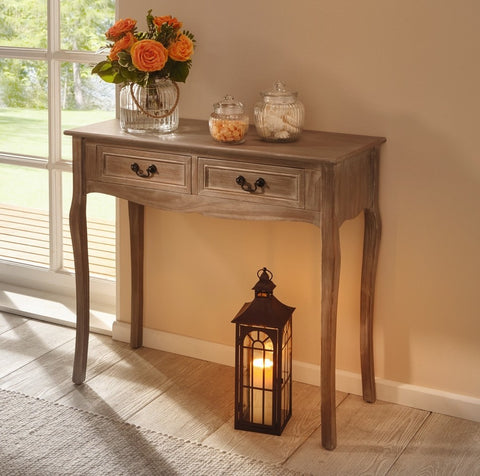 Nostalgia 2 Drawer Wood Console Table w/ Metal Handles - Natural