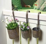 Hanging Metal Flower Planters with Hanging Handles, Set of Three
