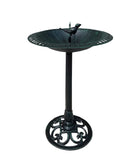 Verdigris Bird and Twig Birdbath -  Pedestal Birdbath, Greenish Black Verdigris
