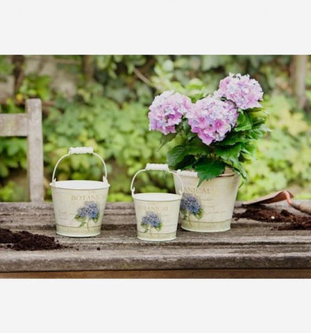 Small Metal Buckets with Hydrangea Motif and Wood Handles, Set of Three