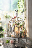 Decorative Metal Cage / Planter Decor / Candle Holder with Butterfly and Bird Accent