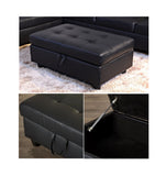 3 Piece Faux Leather Contemporary Right-facing Sectional Sofa Set with Ottoman, 2 Accent Pillows, Black