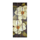 Wooden Frame-less Magnolia Blossom Flower Wall Art