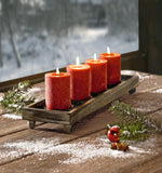 Wood Candle Tray - 21 in. Antique Finish Tray with Four Metal Candle Holders