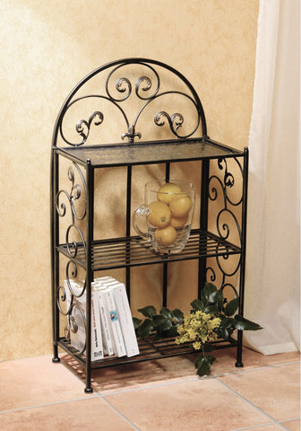 Metal Shelf- Decorative 32 in Metal Shelf With Wrought Iron Motif, Folding Shelf