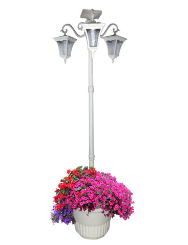 6.6 ft (79 in) Solar Lamp Post and Planter - 3 Heads, White/Amber LEDs, White