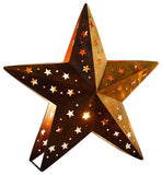 "Candlestick ""Star""  Large  - Metal in Trendy Rostton with Punched Star Patterns"