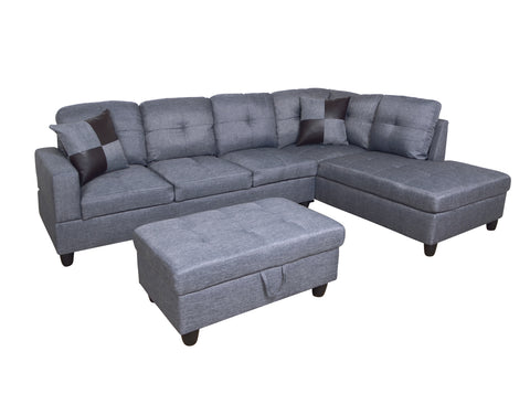 3 Piece Microfiber Contemporary Right-facing Sectional Sofa Set with Ottoman, 2 Accent Pillows, Gray