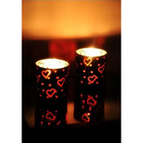 Frosted Glass with Red Hearts Votive Candle Holder, Set of Two