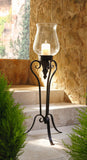 Large Floor Standing Metal and Glass Hurricane Candle Holder