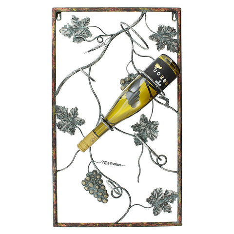 3 Bottles Metal Wall Hanging Wine Rack with Decorative Grape Vines Wall Art
