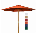 9 ft Orange Patio Umbrella - Outdoor Wooden Market Umbrella