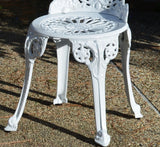 Angel White Garden Bistro Set with 26 in. Dia Table and Two Chairs for Yard, 3 Pieces