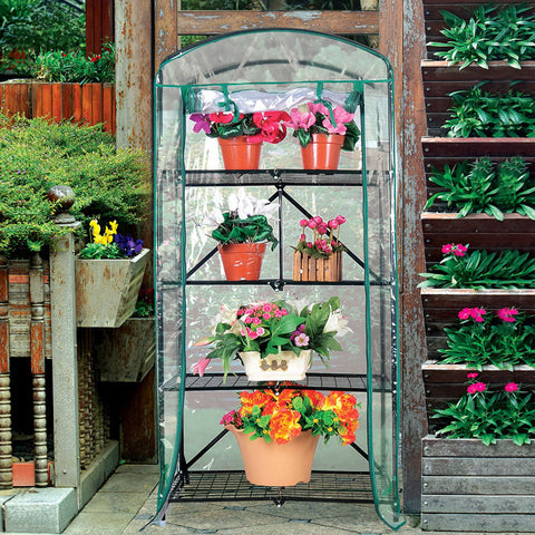 Foldable 2.3 ft. W x 5.25 ft. H 4-Tier Greenhouse with Transparent PVC Cover