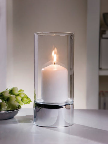 Metal and Glass Hurricane Candle Holder, Silver Spark