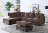 3 Piece Corduroy Contemporary Left-facing Sectional Sofa Set with Ottoman, Espresso