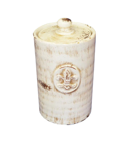 8 in Tall Shabby Chic Fleur De Lis Cotton Ball Holder / Vanity Jar