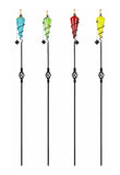 Assorted Color Outdoor Glass Garden Torch Light w/ Metal Pole, Set of 4