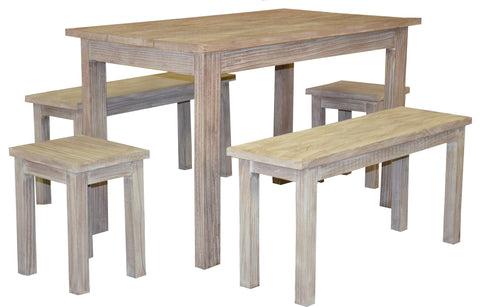 5pc Wooden Rectangular Dining Set with Table, Benches, Stools - Distressed White