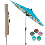 9 ft Aluminum Patio Umbrella Outdoor Garden Yard Deck Table Umbrella with Cover, 8 Sturdy Ribs, Crank Open, Push Button Tilting, Blue / Beach Umbrella