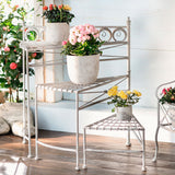 26 in. Tall 3-Tier Spiral Staircase Folding Metal Garden Plant Stand, Collapsible