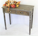Antique-Style 2 Drawer Wood Console Table w/ Brass Finish Handles-Brownish Gray