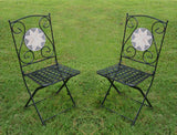 Foldable Mosaic Bistro Chairs, Set of Two