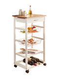 Two Tone Kitchen Rolling Cart w/ Utensil Drawer,Two Baskets,Two Shelves, Wine Rack