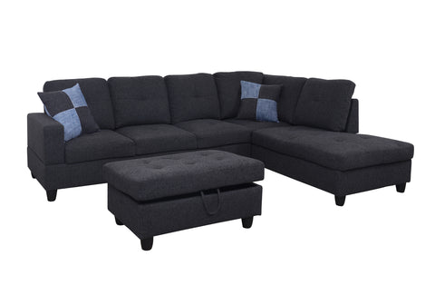 3 Piece Linen Contemporary Right-facing Sectional Sofa Set with Ottoman, 2 Accent Pillows, Charcoal Gray