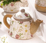 Porcelain Tea Pot - Floral Patterned with Contrasting Spout and Handle