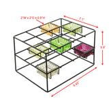 Color Cubes, Contemporary Metal and Glass Tealight Candle Holder, Set of 7