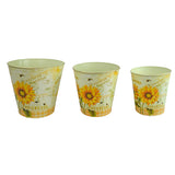 Decorative Sunflower Metal Planter Bucket, Set of 3