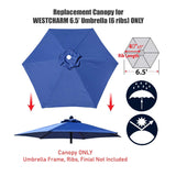 Replacement Umbrella Canopy Cover for 6.5 ft 6 Ribs Patio Market Umbrella (Canopy Only) - Navy Blue