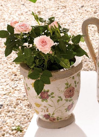 Porcelain Flower Pot - Floral Patterned Pot, Medium Height with Tapered Base