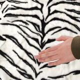 Plush Faux Fur Tiger Skin Area Rug with Giant Stuffed Head - White