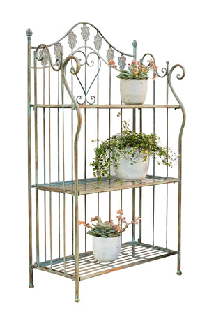 41 in. Folding Metal Shelf / Baker's Rack w/ Scrolling Heart & Peacock Tail Motif