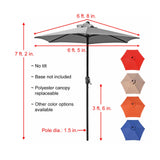 Patio Umbrella Outdoor Table Umbrella with 6 Sturdy Ribs and Crank 6.5 ft, Navy Blue Umbrella