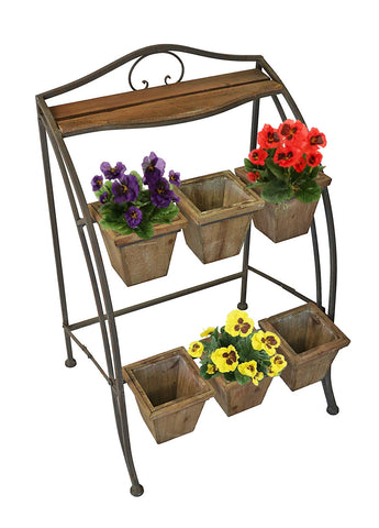 Metal Plant Stand for Outdoor or Greenhouse, Two Tiers
