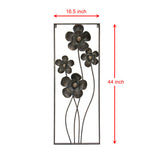 16.5 in. by 44 in. Large Black Metal Flower Blossoms Open Framed Vertical Wall Art